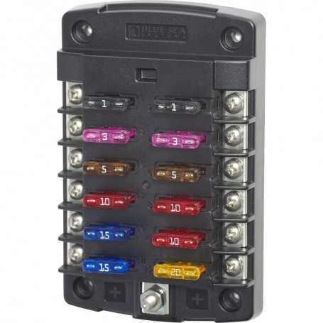Blue Sea 5034 ST Blade Fuse Block w-out Cover - 12 Circuit w-out Negative Bus