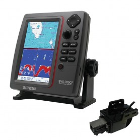 SI-TEX SVS-760CF Dual Frequency Chartplotter Sounder w-Navionics- Flexible Coverage - Transom Mount Triducer