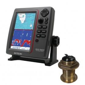 SI-TEX SVS-760CF Dual Frequency Chartplotter-Sounder w- Navionics- Flexible Coverage - Bronze 20 Degree Transducer