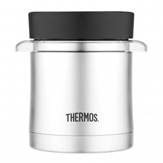 Thermos Vacuum Insulated Food Jar w-Microwavable Container - 12 oz- - Stainless Steel