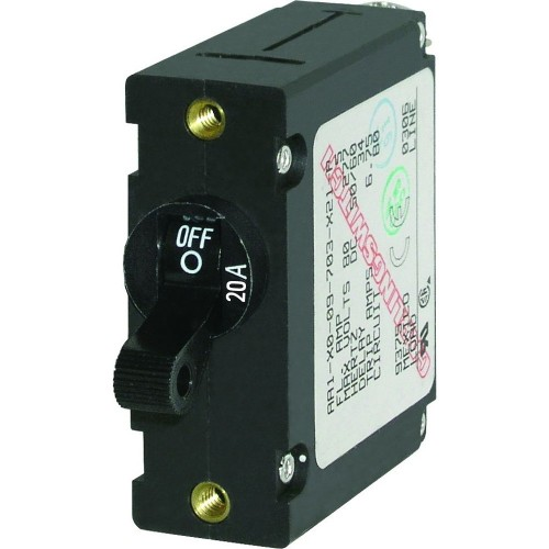 Blue Sea 7212 AC - DC Single Pole Magnetic World Circuit Breaker - 20 Amp