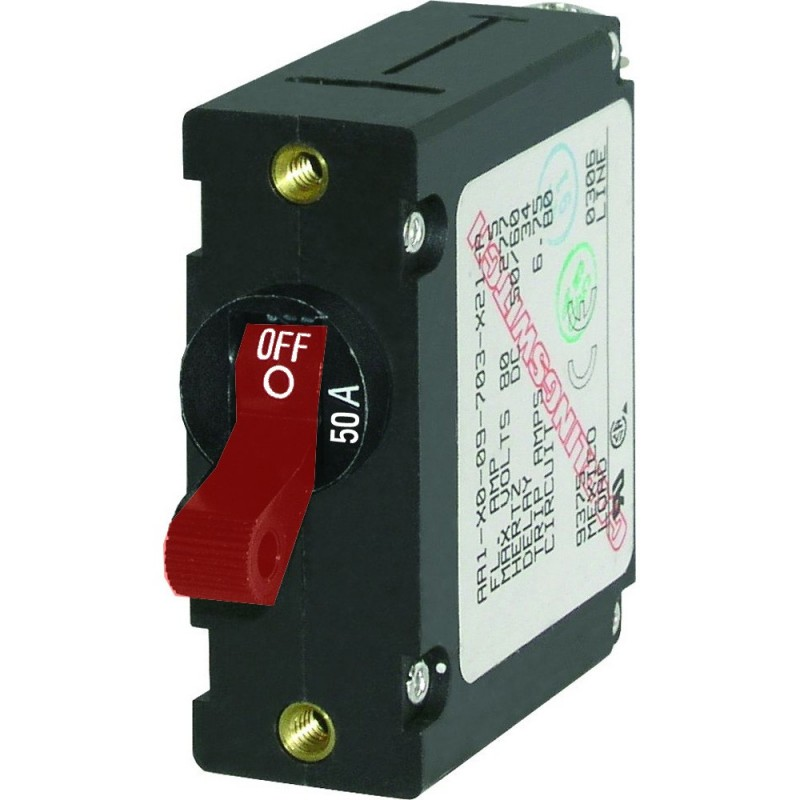 Blue Sea 7229 AC - DC Single Pole Magnetic World Circuit Breaker - 50 Amp