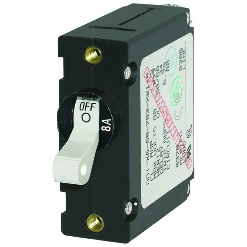 Blue Sea 7299 AC - DC Single Pole Magnetic World Circuit Breaker - 8 Amp
