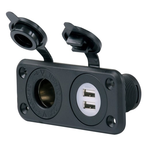 Marinco SeaLink Deluxe Dual USB Charger - 12V Receptacle