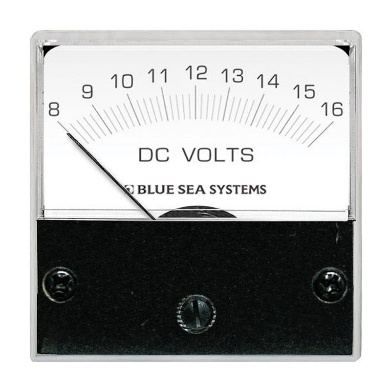 Blue Sea 8028 DC Analog Micro Voltmeter - 2- Face- 8-16 Volts DC
