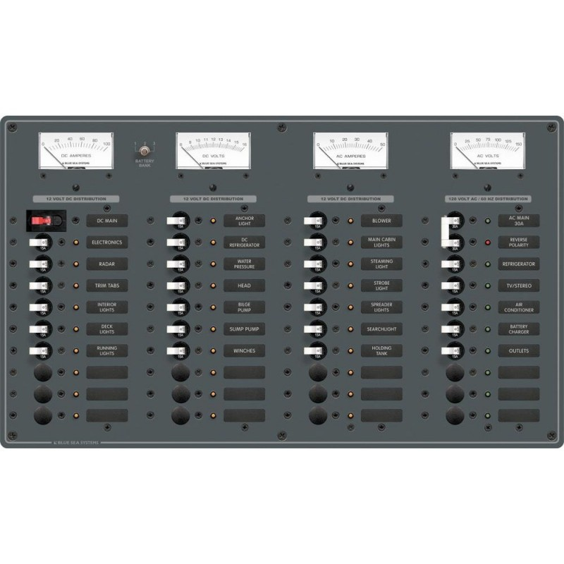 Blue Sea 8095 AC Main -8 Positions - DC Main -29 Positions Toggle Circuit Breaker Panel -White Switches-