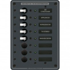 Blue Sea 8159 AC 8 Position 230v -European- Breaker Panel -White Switches-