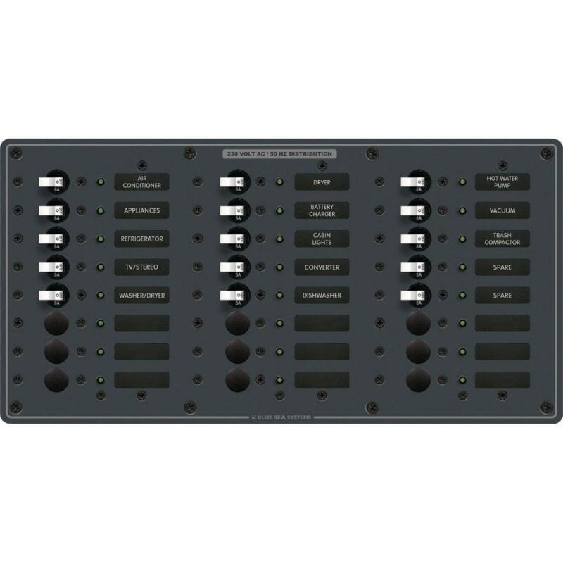Blue Sea 8165 AV 24 Position 230v -European- Breaker Panel - White Switches