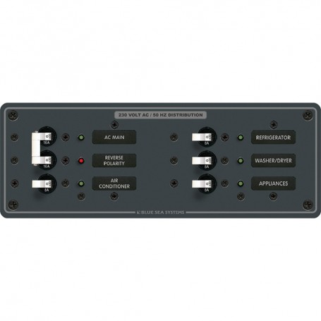 Blue Sea 8199 AC Main - Branch A-Series Toggle Circuit Breaker Panel -230V- - Main - 4 Position