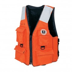 Mustang 4-Pocket Vest w-SOLAS Reflective Tape - 3XL-7XL - Orange
