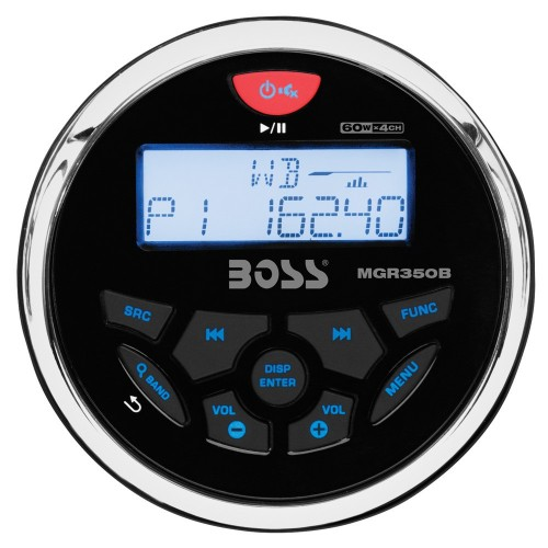 Boss Audio MGR350B Marine Gauge Style Radio - MP3-CD-AM-FM-RDS Receiver