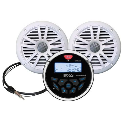 Boss Audio MCKGB350W-6 Combo - Marine Gauge Radio w-Marine Antenna - 2 6-5- Speakers - White