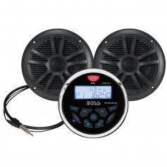 Boss Audio MCKGB350B-6 Combo - Marine Gauge Radio w-Antenna 2 6-5- Speakers - Black