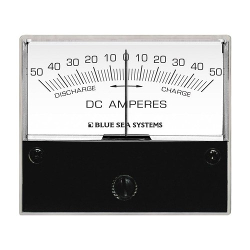 Blue Sea 8252 DC Zero Center Analog Ammeter - 2-3-4- Face- 50-0-50 Amperes DC