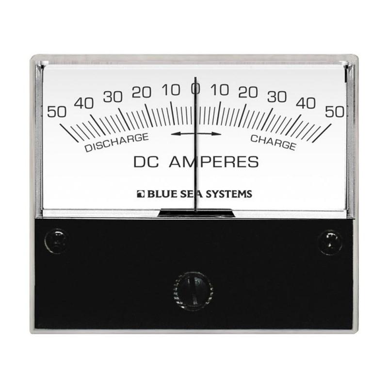 Blue Sea 8252 DC Zero Center Analog Ammeter - 2-3-4- Face- 50-0-50 Amperes DC