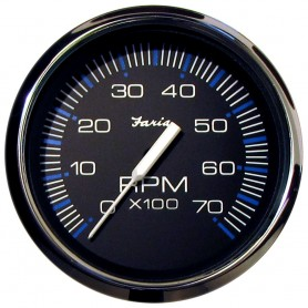 Faria Chesapeake Black SS 4- Tachometer - 7-000 RPM -Gas - All Outboards-