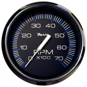 Faria Chesapeake Black SS 4- Tachometer - 7-000 RPM -Gas - All Outboards-