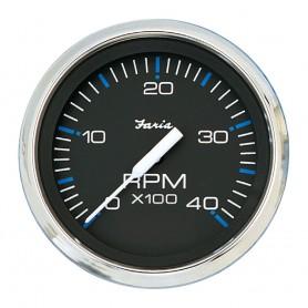 Faria Chesapeake Black SS 4- Tachometer - 4-000 RPM -Diesel - Mechanical Takeoff - Var Ratio Alt-