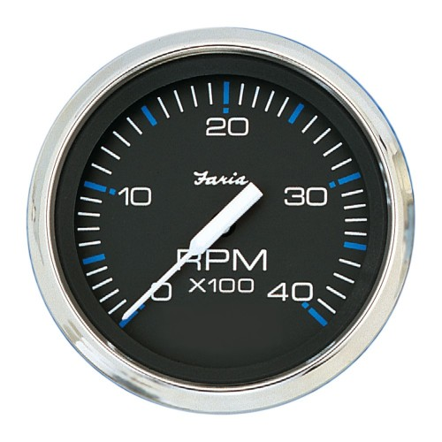 Faria Chesapeake Black SS 4- Tachometer - 4-000 RPM -Diesel - Mechanical Takeoff - Var Ratio Alt-