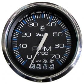Faria Chesapeake Black SS 4- Tachometer w-Systemcheck Indicator - 7000 RPM -Gas- f- Johnson - Evinrude Outboard-