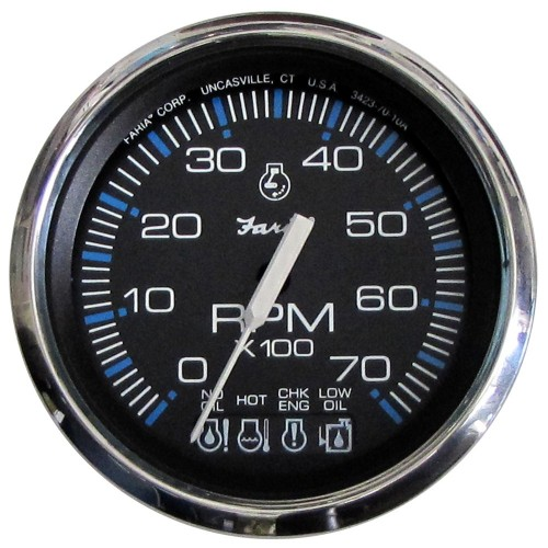 Faria Chesapeake Black SS 4- Tachometer w-Systemcheck Indicator - 7-000 RPM -Gas - Johnson - Evinrude Outboard-