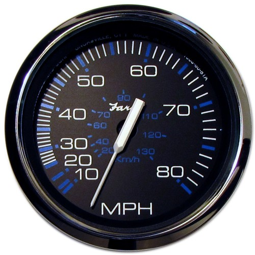 Faria Chesapeake Black SS 4- Speedometer - 80MPH -Mechanical-