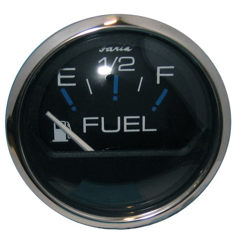 Faria Chesapeake Black SS 2- Fuel Level Gauge -E-1-2-F-