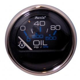 Faria Chesapeake Black SS 2- Oil Pressure Gauge - 80 PSI