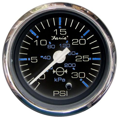 Faria Chesapeake Black SS2- Water Pressure Gauge Kit - 30 PSI