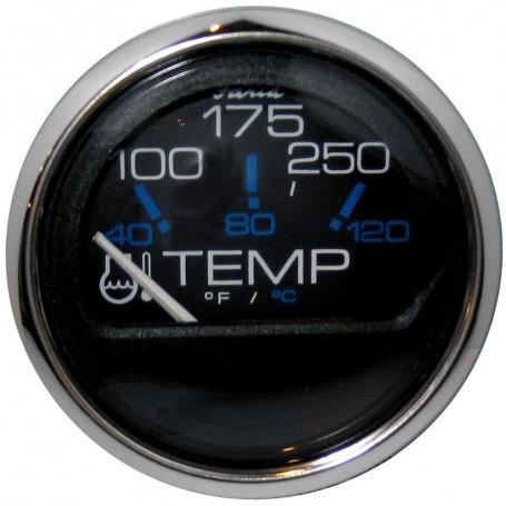 Faria Chesapeake Black SS 2- Water Temperature Gauge -100-250 DegreeF-