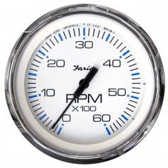 Faria Chesapeake White SS 4- Tachometer - 6-000 RPM -Gas - Inboard - I-O-