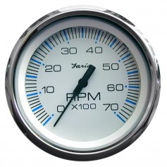 Faria Chesapeake White SS 4- Tachometer - 7-000 RPM -Gas - All Outboards-