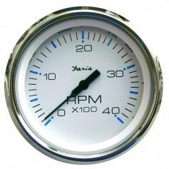 Faria Chesapeake White SS 4- Tachometer - 4000 RPM -Diesel--Mechanical Takeoff Var Ratio Alt-