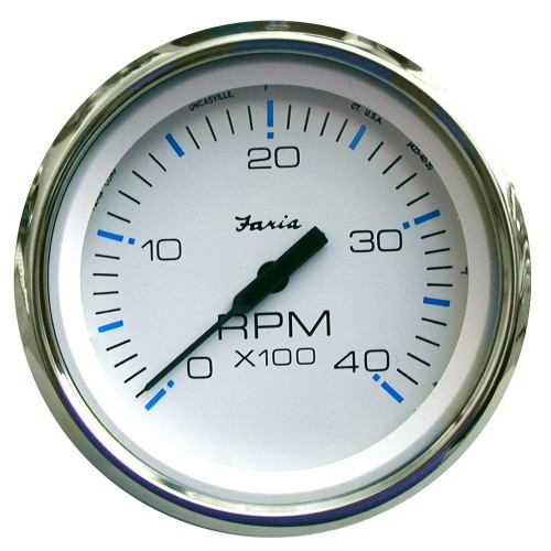 Faria Chesapeake White SS 4- Tachometer - 4-000 RPM -Diesel - Mechanical Takeoff - Var Ratio Alt-