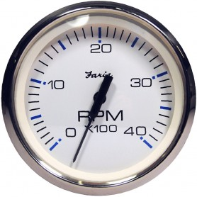 Faria Chesapeake White SS 4- Tachometer - 4-000 RPM -Diesel - Magnetic Pick-Up-