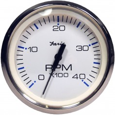 Faria Chesapeake White SS 4- Tachometer - 4000 RPM -Diesel- -Magnetic Pick-Up-