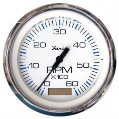 Faria Chesapeake White SS 4- Tachometer w-Hourmeter - 6-000 RPM -Gas - Inboard-