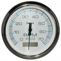 Faria Chesapeake White SS 4- Tachometer w-Hourmeter - 7000 RPM -Gas- -Outboard-