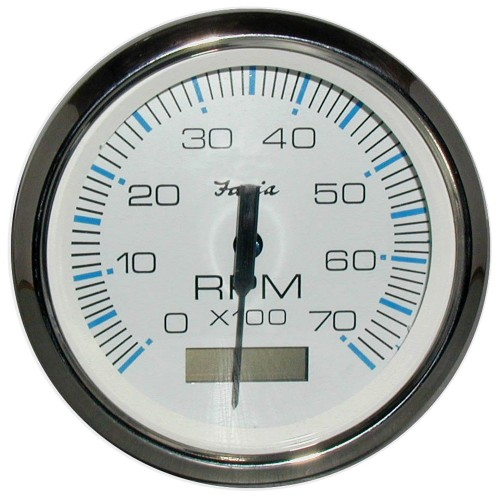Faria Chesapeake White SS 4- Tachometer w-Hourmeter - 7-000 RPM -Gas - Outboard-