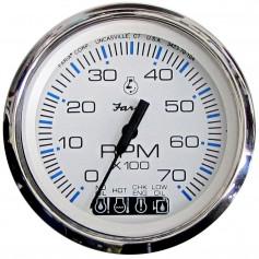 Faria Chesapeake White SS 4- Tachometer w-Systemcheck Indicator - 7000 RPM -Gas- -Johnson-Evinrude Outboard-