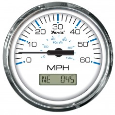 Faria Chesapeake White SS 4- Speedometer w-LCD Heading Display- 60MPH -GPS-