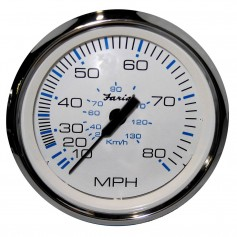 Faria Chesapeake White SS 4- Speedometer - 80MPH -Mechanical-