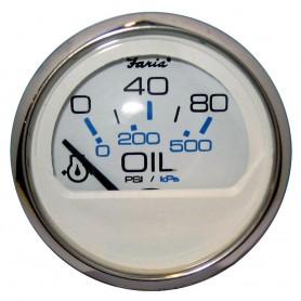 Faria Chesapeake White SS 2- Oil Pressure Gauge - 80 PSI