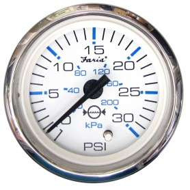 Faria Chesapeake White SS 2- Water Pressure Gauge -30 PSI-