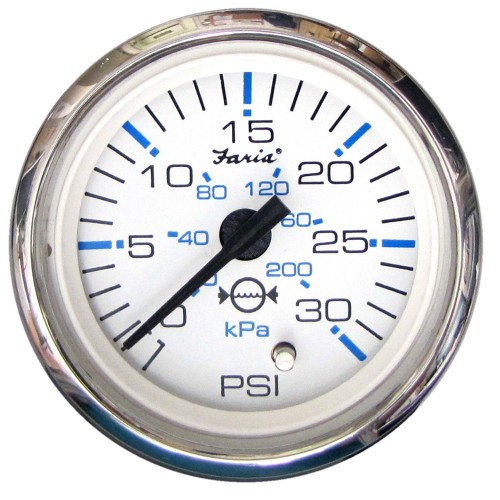Faria Chesapeake White SS 2- Water Pressure Gauge Kit - 30 PSI