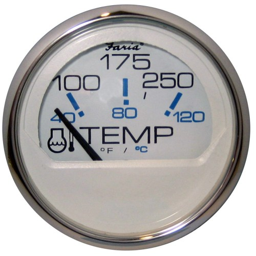 Faria Chesapeake White SS 2- Water Temperature Gauge -100-250 DegreeF-