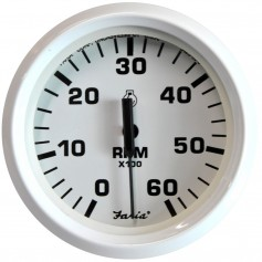 Faria Dress White 4- Tachometer - 6-000 RPM -Gas - Inboard - I-O-