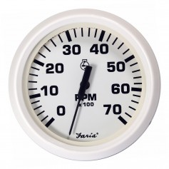 Faria Dress White 4- Tachometer - 7000 RPM -Gas- -All Outboards-