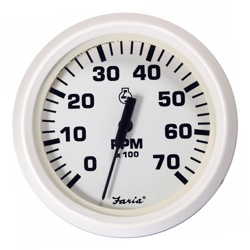 Faria Dress White 4- Tachometer - 7-000 RPM -Gas - All Outboards-