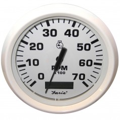 Faria Dress White 4- Tachometer w-Hourmeter - 7000 RPM -Gas- -Outboard-